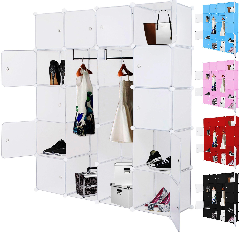 kesser kleiderschrank diy schrank regalsystem steckregal garderobe rosa 600 l ebay. Black Bedroom Furniture Sets. Home Design Ideas