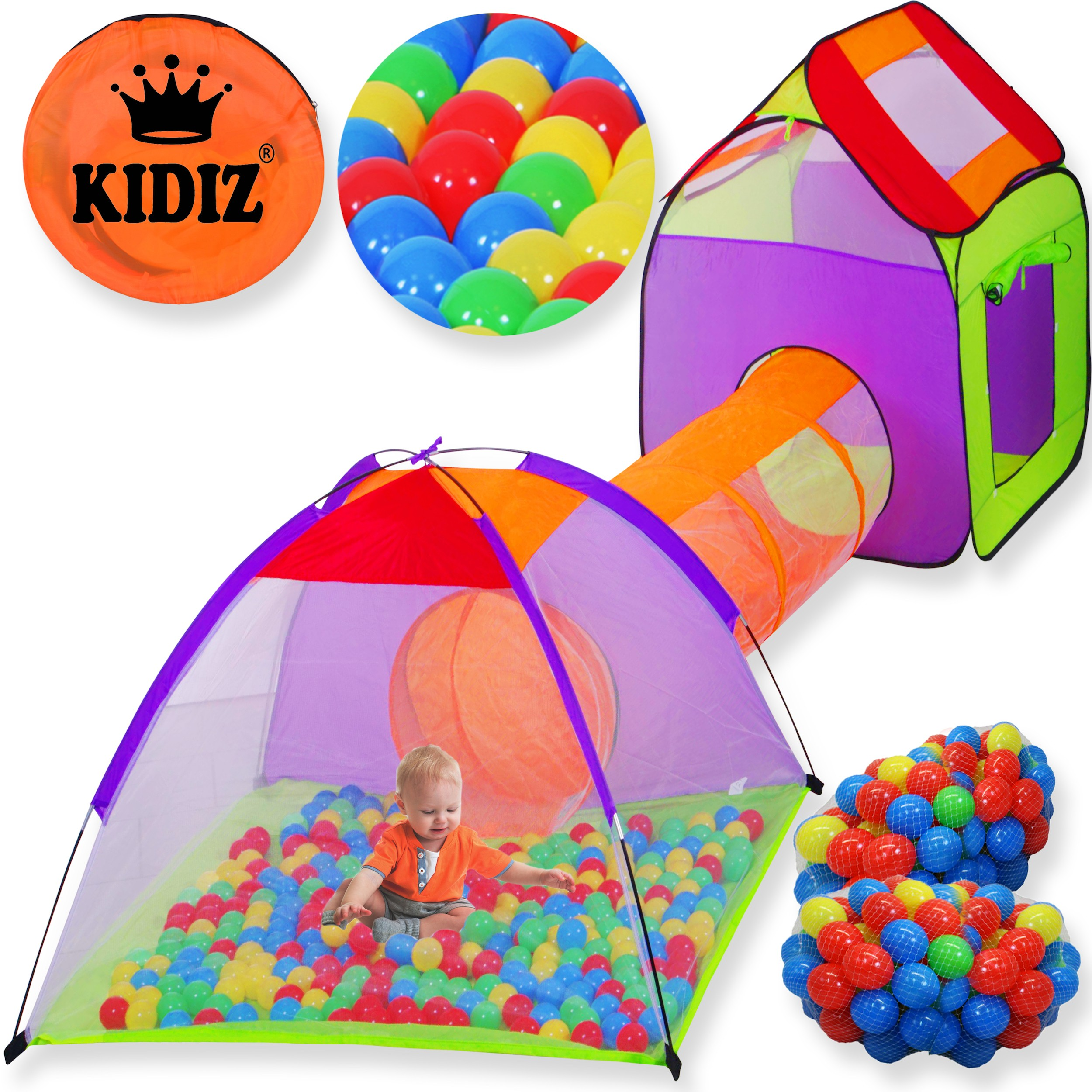kidiz spielzelt tunnel 200 b lle kinderzelt b llebad spielhaus babyzelt xxl neu. Black Bedroom Furniture Sets. Home Design Ideas