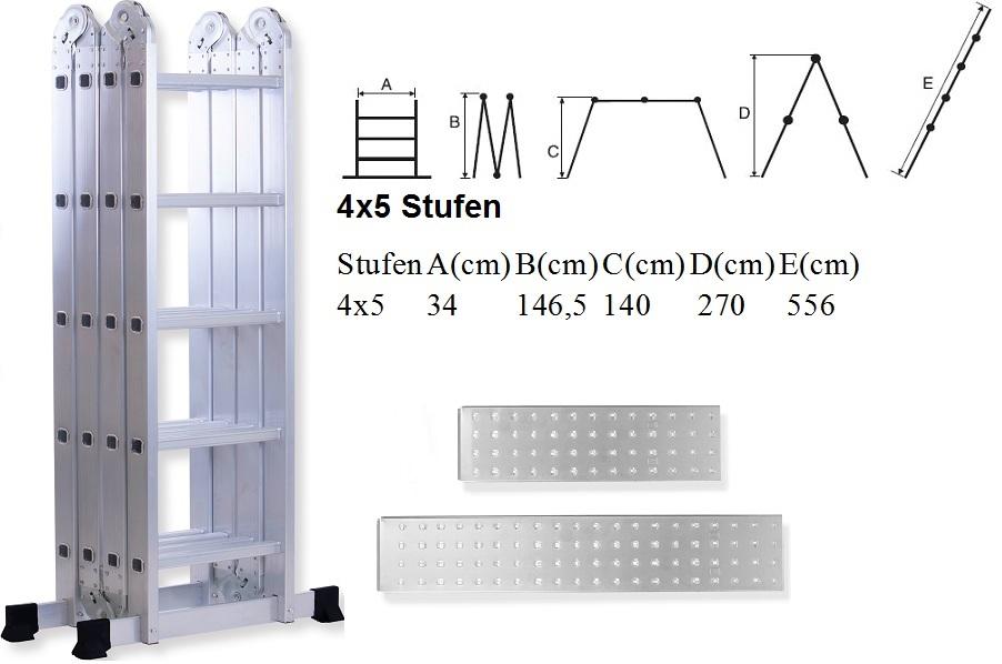 masko 6in1 anlegeleiter leiter mehrzweckleiter klappleiter gelenkleiter 340cm ebay. Black Bedroom Furniture Sets. Home Design Ideas